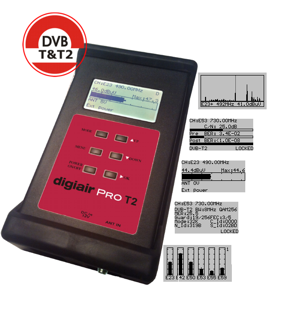 Digiair Pro DVB-T/T2/C Digital und Analog Kabel Messger�t 48-860 MHz