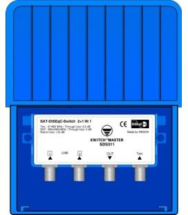 Switch Master SDS 311 High Class 2-wege DISEqC 2.0 Switch mit DVB-T/T2 EingangFull HD und UHD 4K/8K Kompatibel
