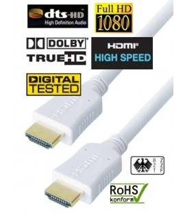 High Speed HDMI White Cable, Gold Plated Connector, 1m